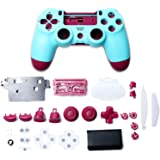 Gamepad Shell DIY Controller Housing Case Cover Replacement for PS4 Controller Accessories (Berry Blue)