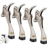 Gotega Door Stopper, 4 Packs Kickdown Door Stop with One Touch Adjustable Height and Rubber Tip 4 Inches, Door Stops