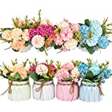 Artificial Flower Plants – Mini Fake Hydrangea Flowers in Pot for Home Decor Party Wedding Office Patio Table Desk Decoration