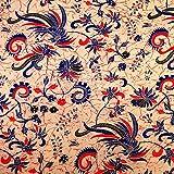Pajung Prijaji インドネシア バティック ジャワ更紗(プリント) 鳥と植物のモチーフ ネイビー × レッド  [並行輸入品]
