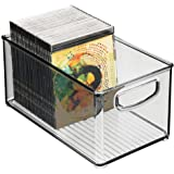 mDesign Stackable Plastic Storage Bin Container with Handles for Home Office - Holds Gel Pens, Erasers, Tape, Pens, Pencils,