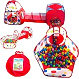Playz 6-Piece Kids Play Tents Crawl Tunnels and Ball Pit Popup Bounce Playhouse Tent with Basketball Hoop for Indoor and Outd