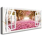 Cao Gen Decor Art-AH40150 1 Panels Wall Art Trees and Pink Rose Paintings Printed Pictures Stretched and Framed Canvas Painti