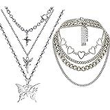 DXZNBEST Lock Key Pendant Chains Necklace Angel Layered Choker Emo Aesthetic Chunky Chains Jewelry for Eboy Egirl Women Men