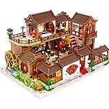 CuteBee DIY木製ドールハウス、A Splendid Family 、ミニチュアコレクション、LEDライト、プレ…