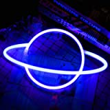 Blue Neon Light Signs Planet Neon Light Led Signs Wall Decor, Battery or USB Operated Planet Lamp Neon Lights Light up for Ho