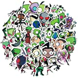 Invader Zim Anime Stickers for Water Bottles Laptop 50pcs Funny Cartoon Comedy Hydroflasks Computer Pad Scrapbook Notebook Ca