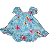 RJC Baby Girl's Delicate Plumeria Puff Sleeve Hawaiian 2 Piece Dress Set