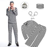 囚人服 ハロウィン コスチューム 囚人 仮装 コスプレ 手錠 セット メンズ 白黒 ボーダー 長袖 (M)