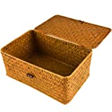 Timoo Handwoven Rattan Storage Basket,Large Size Seagrass Organizer Container with Lid for Makeup, Clothes and Home Items