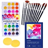 Watercolor Paint Set, 52 Piece Painting Supplies with Palette, Includes 36 Premium Paints, 1x24 Page Pad(A4), 12 Brushes, 2 A