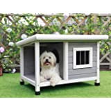 """Petsfit Outdoor Wooden Dog House for Small Dogs, Light Grey, Small/33 L x 25"""" W x 23"""" H"""