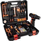 jar-owl 55 Piece Tool Kits 16.8V Cordless Drill Lithium Ion with Tool Set Combination Package and Plastic Toolbox Storage Cas