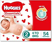 Huggies Essentials Nappies, Size 2 Infant (4-8kg), 54 Count