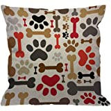HGOD DESIGNS Dogs Paws and Bones Throw Pillow Cover,Lovely Cartoon Adorable Footprint Decorative Pillow Cases Cotton Linen Sq
