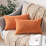 MIULEE Corduroy Pillow Covers, Polyester & Polyester Blend, L-Striped Orange, 2 Pieces, 12''x20''