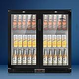 Devanti Bar Fridge 2 Glass Door Commercial Display Freeer Drink Beverage Cooler Black