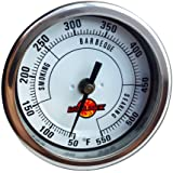 """LavaLock® 3"""" Adjustable Gas Charcoal Smoker Pit Grill BBQ Thermometer Electric Heavy Duty Stainless 2.5"""" stem"""