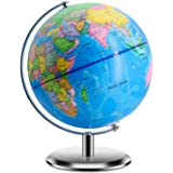 World Globes for Kids - 9 Inch Diameter - Educational World Globe with Stand Adults Desktop Geographic Gobles Discovery World