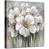 Wall Art Botanical Pictures Painting: White Lily Bouquet of Flowers Oil Painting Floral Artwork Print on Wrapped Canvas for W