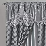 Circle Cycle. Clipped Voile/Voile Jacquard Window Curtain Panel Drape with Attached Fancy Valance & Taffeta Backing. 2pcs Set