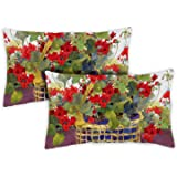 Toland Home Garden 771218 Geranium Basket 12 x 19 Inch Indoor/Outdoor, Pillow, Case (2-Pack)