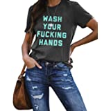 Blooming Jelly Womens Funny Graphic T Shirts Wash Your Hands Short Sleeve Crewneck Casual Top Tees