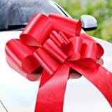 Zoe Deco Big Car Bow (Red, 58 cm), Gift Bows, Giant Bow for Car, Birthday Bow, Huge Car Bow, Car Bows, Big Red Bow, Bow for G