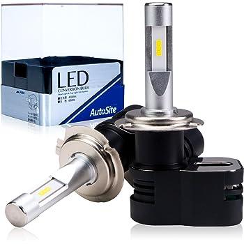 [AutoSite] LEDヘッドライト H7 4200Lm 6000k コンパクト設計 オールインワン ハイビーム ロービーム AS80