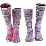 Ski Socks for Women Thermal Skiing Socks Snowboard & Hiking Cotton Socks 2-Pack, Purple-hot Pink, Medium