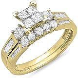 Dazzlingrock Collection 10k Princess, Round & Baguette Cut IJ white-diamond