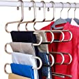 (3-Pieces) - DOIOWN S-Type Stainless Steel Clothes Pants Hangers Closet Storage Organiser for Pants Jeans Scarf Hanging (14.1