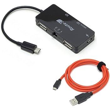 ルートアール 充電可能OTG SDカードリーダー付き2ポートUSBハブ + 超急速充電microUSBケーブル RUH-OTGU2CR+C