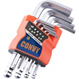 Convy GJ-0052 Allen Wrench Set, Hex Key Set with Arm Ball End, Metric, Set of 9 pieces, Standard