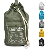 """Laundry Bag Backpack Spacious 25""""X22"""" Drawstring Cotton Canvas with Strong Durable Shoulder Straps Washing Storage Organizer"""