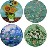CARIBOU Coasters - Sunflowers Blue, Almond Blossom, Vase with Pink Roses by Vincent Van Gogh, Claude Monet Water Lilies Desig