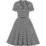 Wellwits Women's Stripe Keyhole Tie Neck 40s 50s Retro Vintage Swing Dress