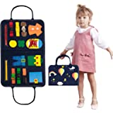 XMWEALTHY Montessori Busy Board for Toddler Sensory Board Kids Basic Skill Learning Board Kit Button Zipper Snap Toy Blue