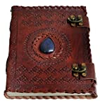 """Handmade Large 8"""" Embossed Leather Journal Celtic Two latches Blue Stone Blank Personal Diary Notebook refillable Journal..."""