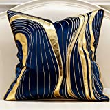 Avigers 20 x 20 Inches Navy Blue Gold Leather Striped Embroidered Cushion Cases Luxury European Throw Pillow Covers Decorativ