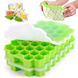 CHENYING Ice Cube Tray, 2 Pack silicone ice cube tray ,Honeycomb Ice cube trays with soft lid 74-Ice Trays BPA Free, for Whis