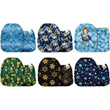 Mama Koala One Size Baby Washable Reusable Pocket Cloth Nappies, 6 Pack with 6 One Size Microfiber Inserts (Snow World)