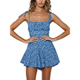 Jeanewpole1 Womens Floral Spaghetti Strap Rompers Ruffle Wide Leg Short Pants Summer Jumpsuits