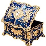 Feyarl Vintage Rectangle Blue Jewelry Box Trinket Box Ornate Antique Finish Engraved Dividers