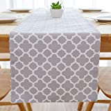 NATUS WEAVER Cotton Canvas Geometric Moroccan Trellis Print Design Pillow Cover, High Quality Cotton Canvas, Light Grey, 12 X