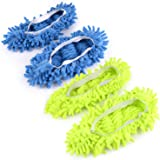 Mop Shoe Floor Cleaning Slippers Multi-Function for Home Cleaning Green and Blue 2 Pairs