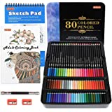 80 Colors Professional Colored Pencils, Shuttle Art Soft Core Pencil Set with 1 Coloring Book,1 Sketch Pad, 2 Sharpener, 1 Pe