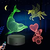 Huaker 3D Night Light for Kids, 3D Illusion Lamp Different 3 Pattern and 7 Color Change Decor Lamp with Touch & Remote Contro