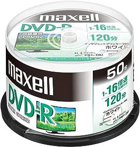 maxell 録画用 (1回録画用) CPRM対応 DVD-R 120分 16倍速対応 インクジェットプリンタ対応ホワイト(ワイド印刷 23mm) 50枚 スピンドルケース入 DRD120PWE.50SPZ