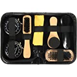 SODIAL Shoe Shine Care Kit Black & Neutral Polish Brush Set for Boots Shoes Sneakers